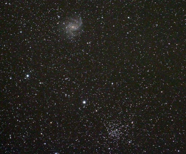 NGC 6939 (open cluster) and NGC 6946 (galaxy)